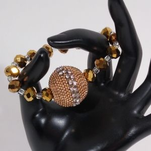 Bracelet Gold Bronze Sparkly Handmade Stretch